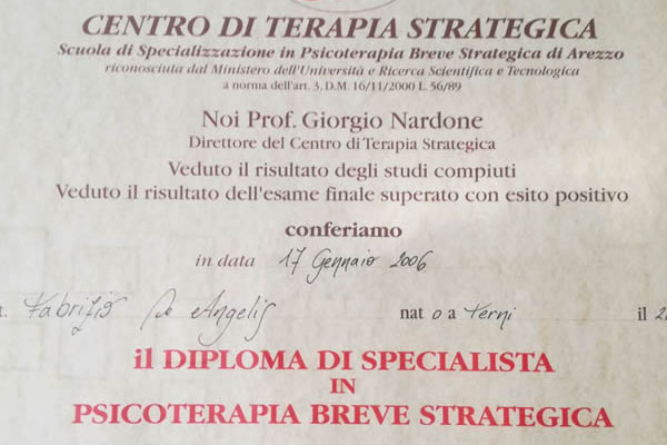 diploma in terapia breve strategica